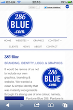 286Blue Website on iPhone