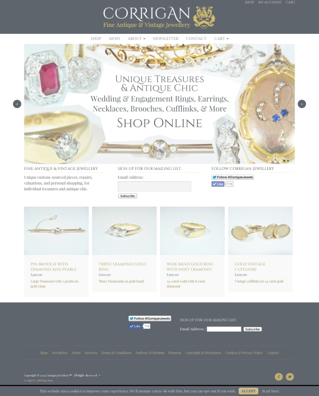 Corrigan Jewellery website & Branding by 286blue