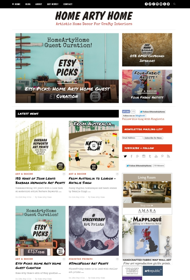 Home Arty Home website by 286blue