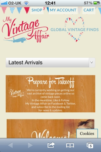 My Vintage Affair Mobile Website
